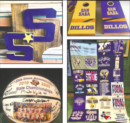 Upper left - Cool sign made from the white gym floor. Top right - Customized cornhole set cut from the recently replaced white gym floor. Bottom left - Basketball signed by 2019-20 Armadillo team. Bottom right - Quilt made from 2019-20 athletic teams' shirts.