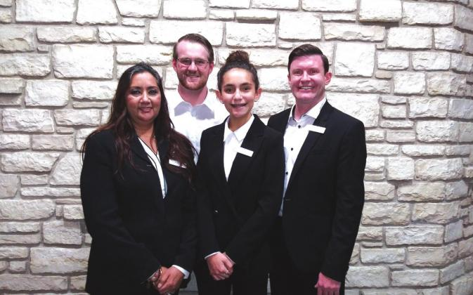 San Saba staff at Heritage Funeral Homes include from left to right: Anita Alvarez, Office Manager/Family Service Counselor; Ryan Coffman, Funeral Director, Apprentice; Linden Mercer, Assistant, and daughter of Dr. Mercer; and Dr. James Mercer, owner. See Story & Photos on Page 2.